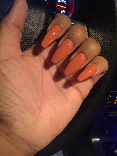 color acrylic nails fall orange coffin shape acrylic nails nail in 2019