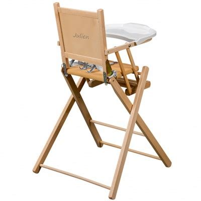 chaise haute pliante en bois massif naturel