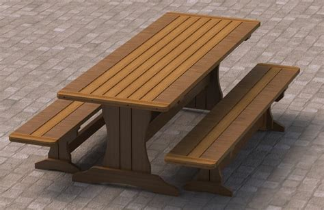 picnic table bench plans ft trestle style picnic table