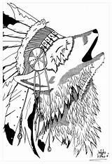 Coloring Native Wolf Pages American Tribal Teepee Adults Indian Feather Headdress Symbols Dreamcatcher Printable Indians Getcolorings Americans Tee Obsession Wearing sketch template