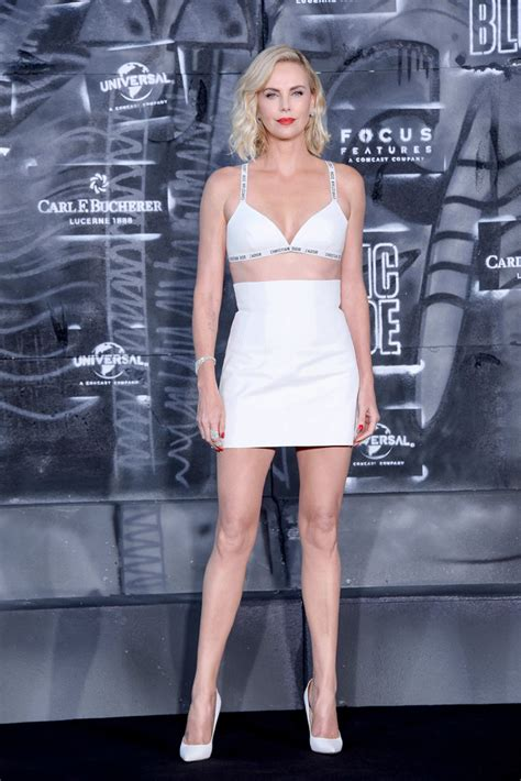Charlize Theron Best Charlize Theron In White Bra Top Skirt With Classic