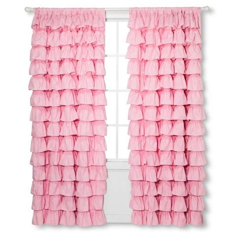 pink ruffle curtains 96 ruffle curtain panel 55x84 quot pink sheringham road target