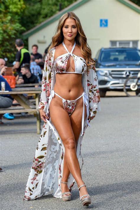 Yazmin Oukhellou seen wearing a floral print bikini at a ...