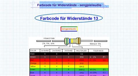widerstandsbestimmung mit der widerstandsfarbcode tabelle