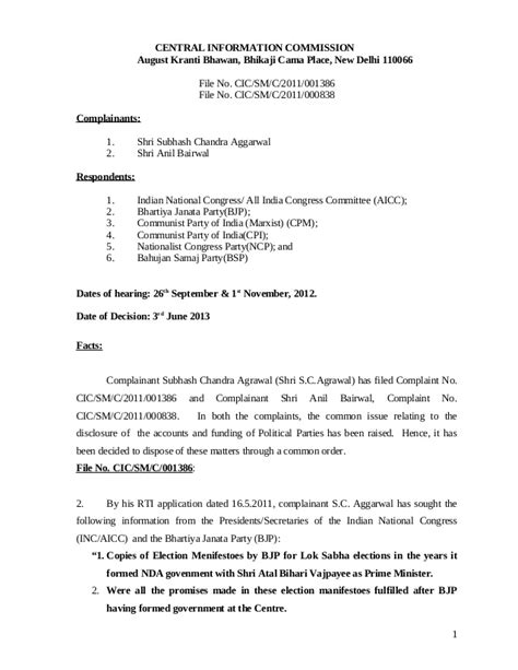 political parties   rti act central information