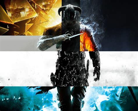 wallpaper video games collage  elder scrolls