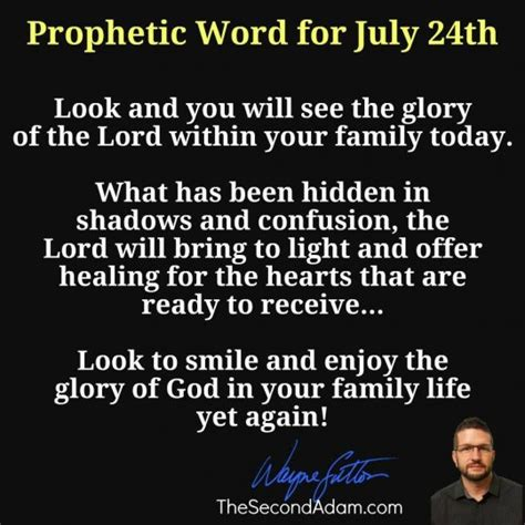 July 24 Daily Prophetic Word Of God  The Second Adam