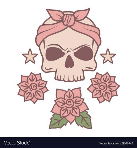 cute skull  flowers tattoo template royalty  vector