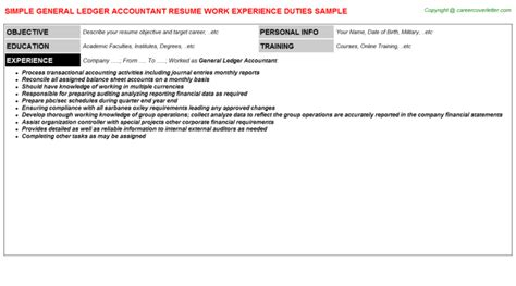 General Ledger Accountant Resume by Investment Accountant Resumes Sles