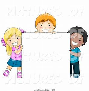 Vector Clipart of Happy Diverse School Kids with a Blank ...