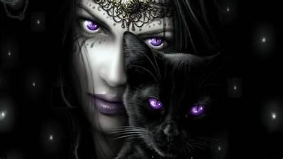 Cat Wallpapers Purple Fantasy Goth Woman Eyes