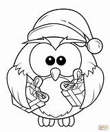 Coloring Owl Pages Christmas Gift Boxes Printable Drawing Crafts sketch template