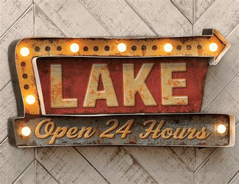 lake led metal sign