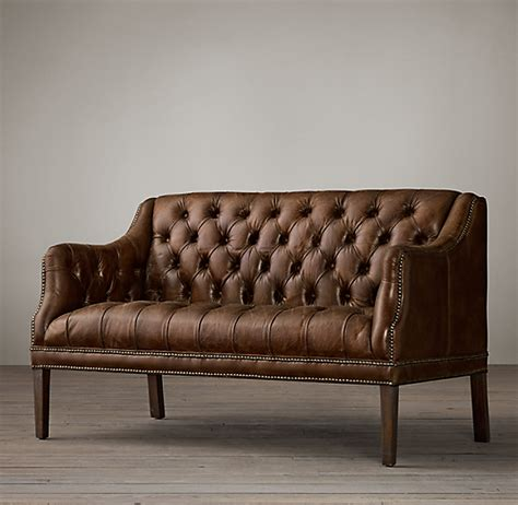 Settee Leather by Everett Tufted Leather Settee