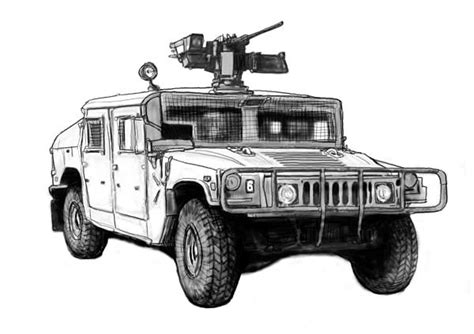 Hummer Us Army Car Drawing Art Poster Greeting Card For