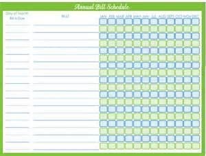 Monthly Bill Payment Calendar Template