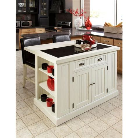 white kitchen island with granite top home styles nantucket white kitchen island with granite top 5022 94 the home depot