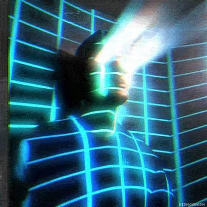 Retro Futuristic Gifs Tron Neon Animated Grid