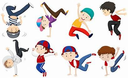Dancing Boys Illustration Different Vector Doing Actions