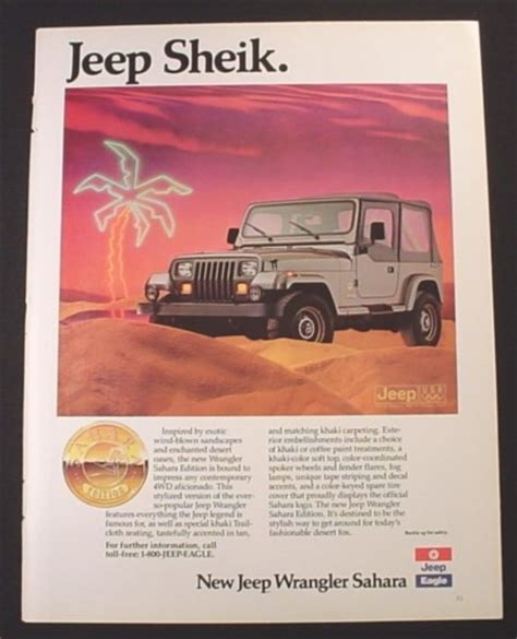 jeep wrangler ads magazine ad for jeep wrangler sahara jeep sheik 1988