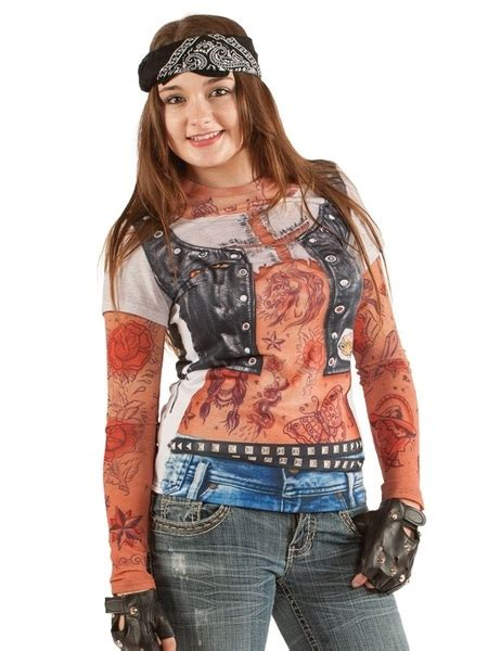 biker chick faux real shirt pk  costume shirts shindigs