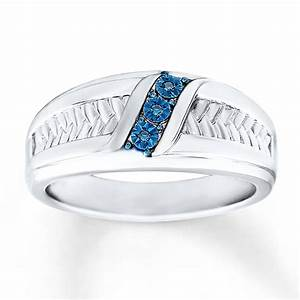 kay men39s wedding ring blue diamond accents sterling silver With diamond silver wedding rings
