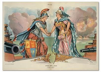 American 1898 Britannia Columbia Political Cartoons Britain