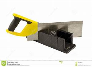 Plastic Saw Angle Cut Miter Box Tool On White Stock
