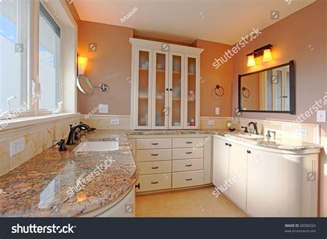 Luxury Cream Bathroom Granite Mirrors Stock Photo 68588269