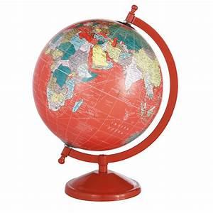 Globe terrestre rouge h 29 cm school maisons du monde for Maison du monde globe