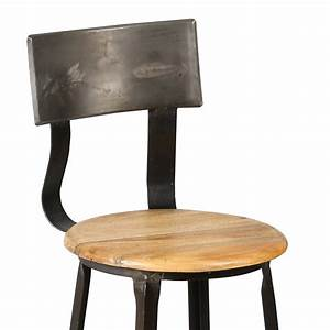 Chaise Bar Bois : chaise de bar en acier assise bois atelier metal maison et styles ~ Teatrodelosmanantiales.com Idées de Décoration