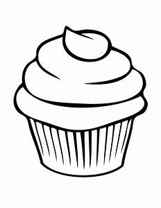 Cute Cupcake Outline Clipart - Clipart Suggest