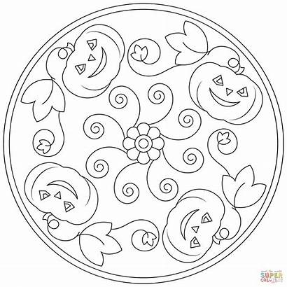 Mandala Halloween Coloring Pages Printable Pumpkin Mandalas