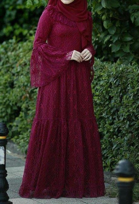gamis brokat merah maroon gamis pesta kondangan gaun