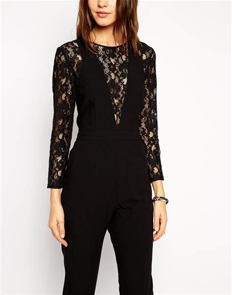lace jumpsuit black asos jumpsuit in lace with longsleeves in black lyst