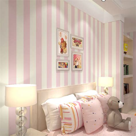 bedroom with pink walls pink stripe wall paper for walls vertical striped 14476