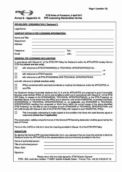 Declaration Form Legal Licensing Forms Pdf Word
