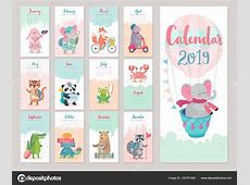 Calendar 2019 Cute Monthly Calendar Forest Animals Hand