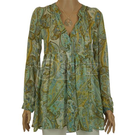 tunic blouses for paisley print chiffon tunic blouse top