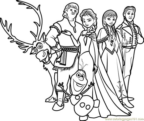 Coloring Frozen All by Frozen Family Coloring Page Free Frozen Coloring Pages