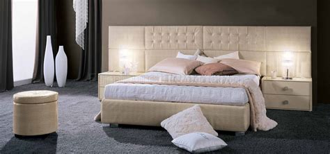 moon beige glossy leather modern bed  nightstands