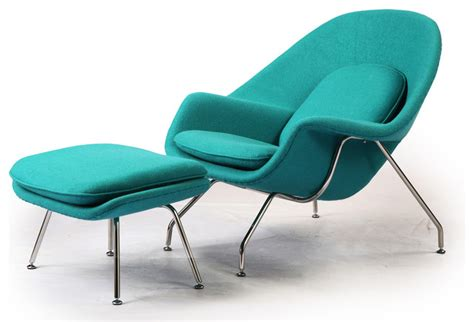 kardiel womb chair ottoman turquoise boucle
