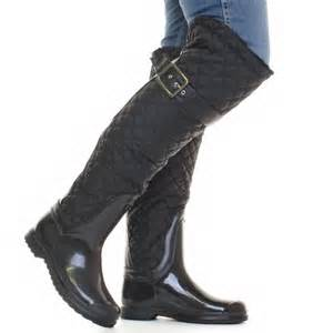 womens winter boots size 12 canada womens black quilted fleece lined wellies wellington boots size 3 8 ebay