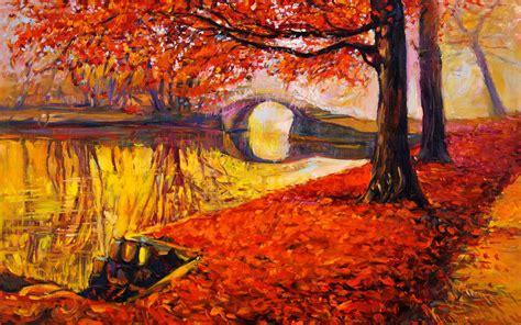 red autumn bridge golden lake wallpapers red autumn
