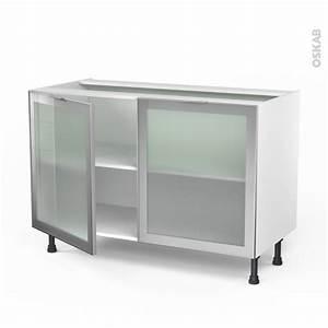 meuble de cuisine bas vitre facade alu 2 portes l120 x h70 With meuble bas cuisine 120 cm 15 cuisine nebraska