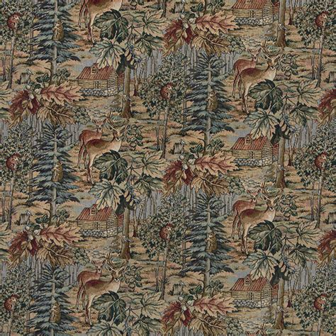 wilderness deer cabins trees leaves theme tapestry upholstery fabric by the yard rustic