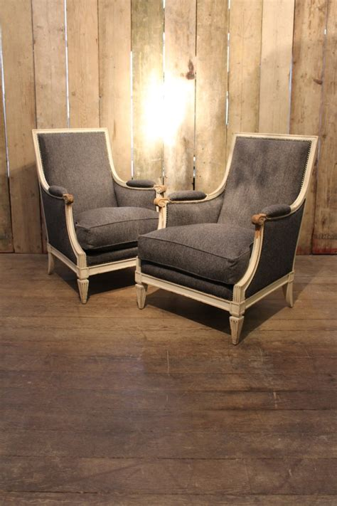 a pair of louis xvi style painted bergeres 1940s furniture