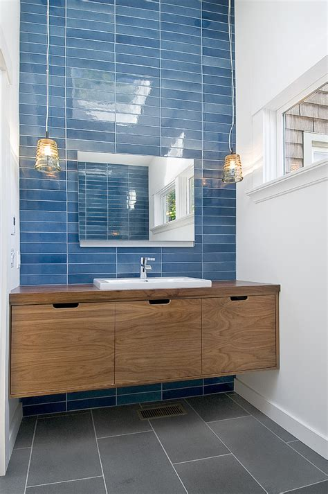 horizontal tiles bathroom modern  wood vanity nickel