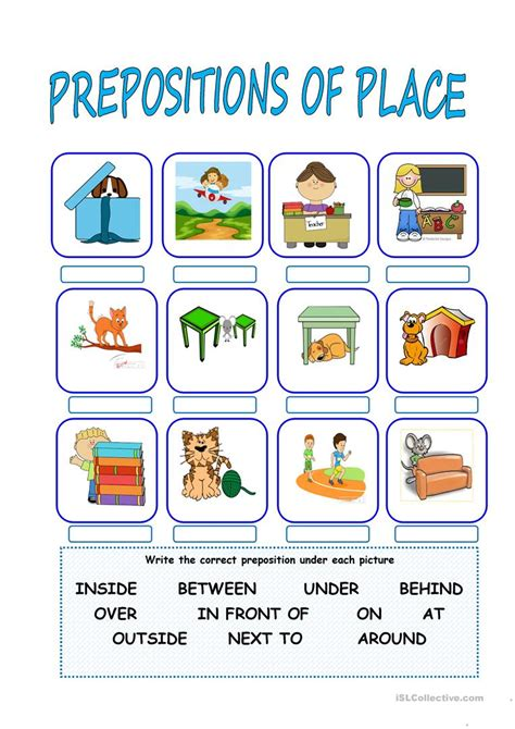 prepositions  place worksheet  esl printable