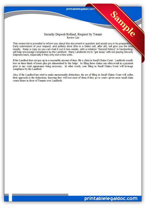printable security deposit refund request  tenant